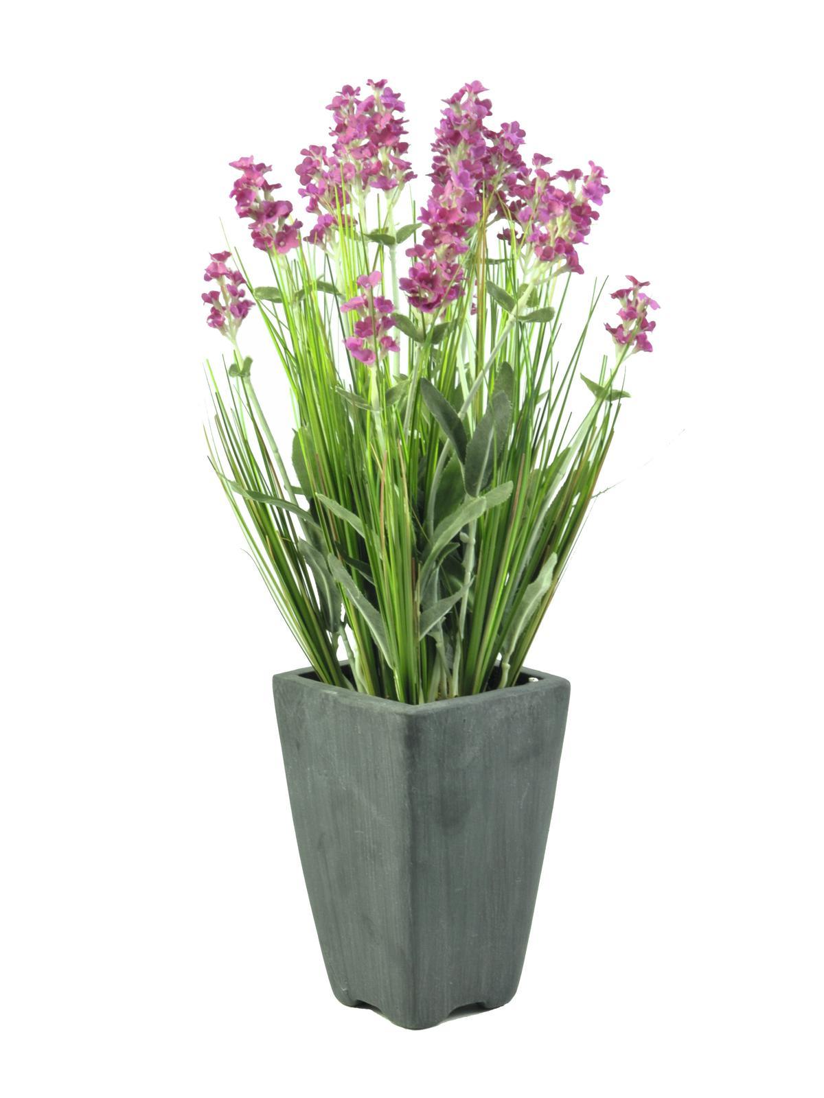 Billede af Kunstig Lavender, rose in pot, 45cm