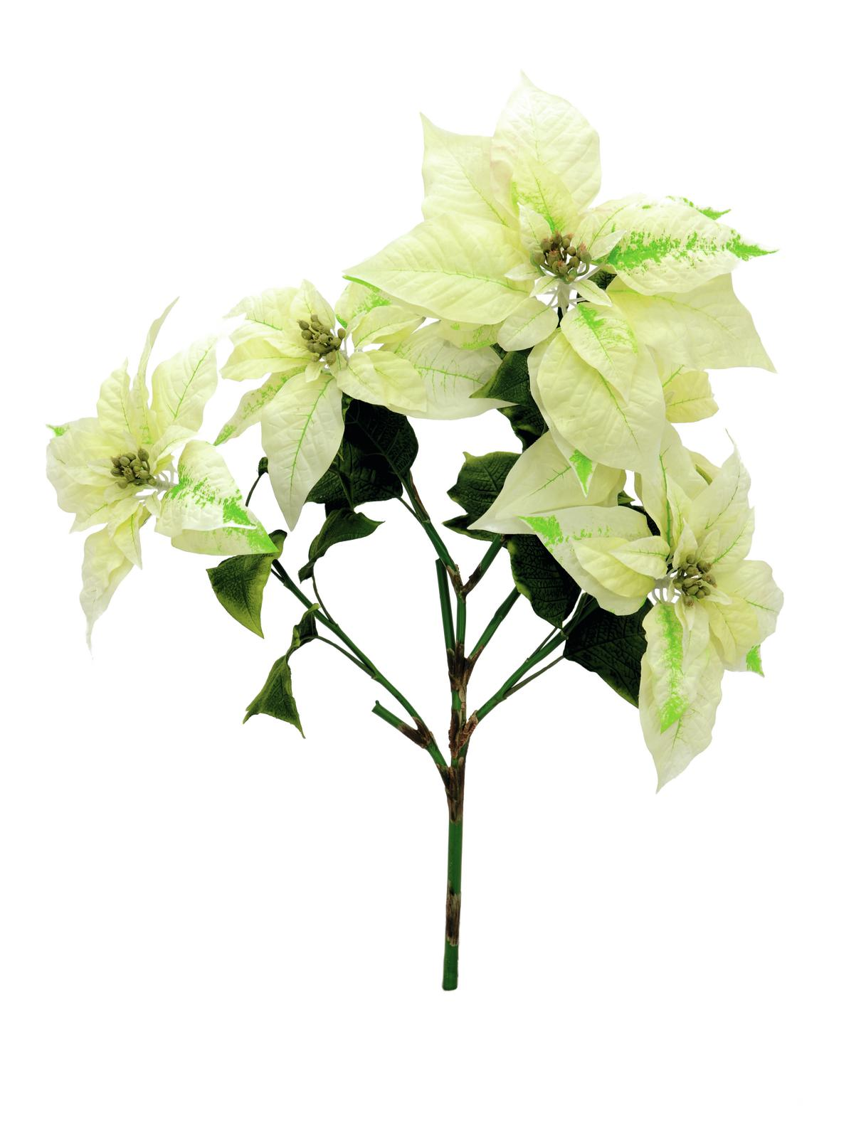 Billede af Kunstig Poinsettia bush, cream, 60cm