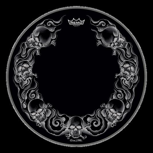 """Billede af Remo Trommeskind 22"""" Powerstroke 3 Bass Black Skull"""