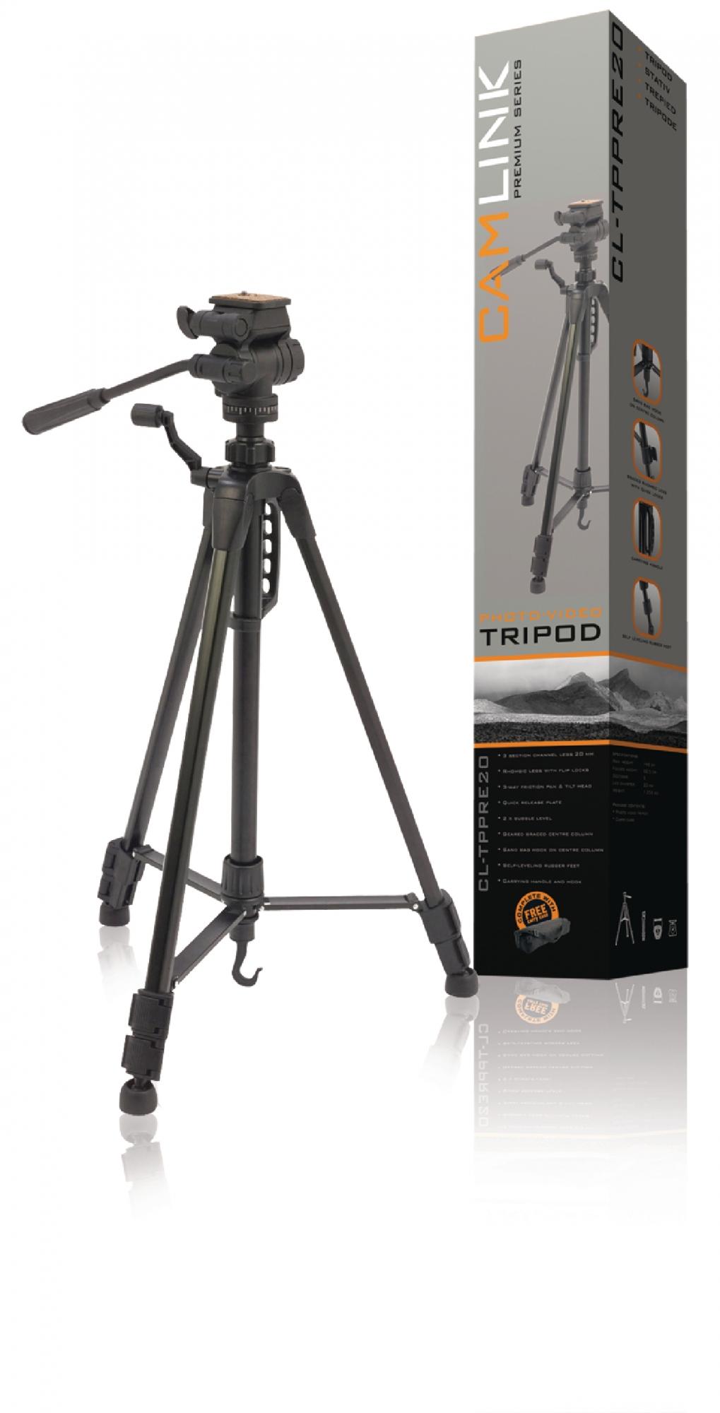 Billede af Premium kamera/video stativ vipbar, 148 cm. sort