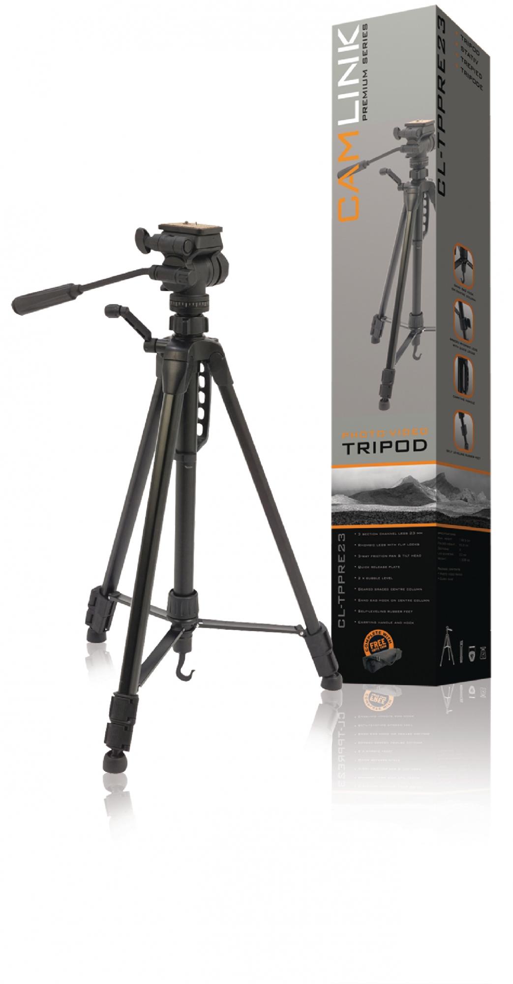 Billede af Premium kamera/video stativ vipbar, 160 cm. sort