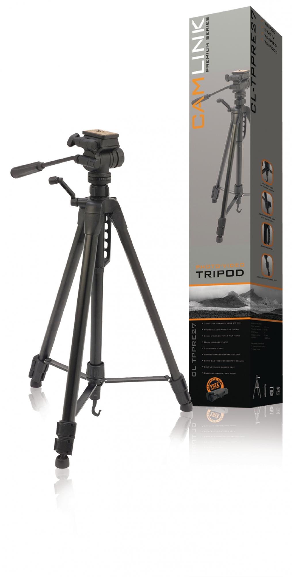 Billede af Premium kamera/video stativ vipbar, 165 cm. sort