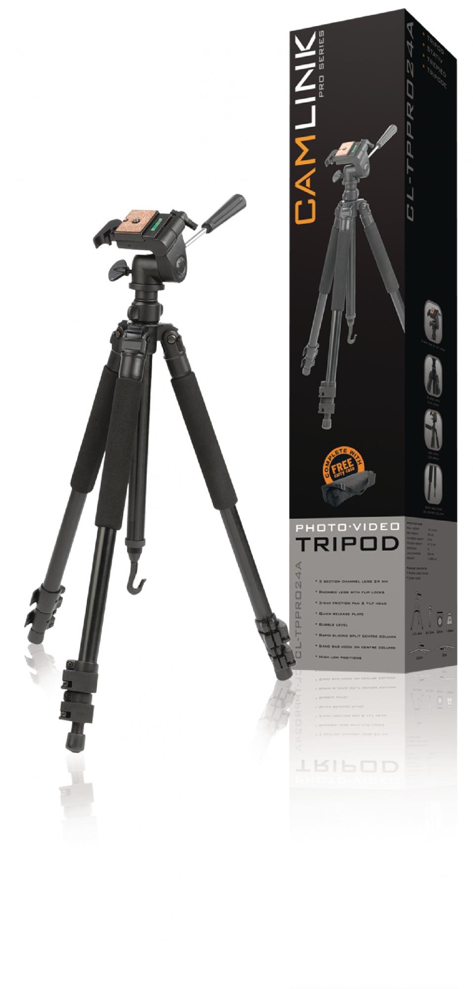 Billede af Professional kamera/video stativ vipbar, 146 cm. sort