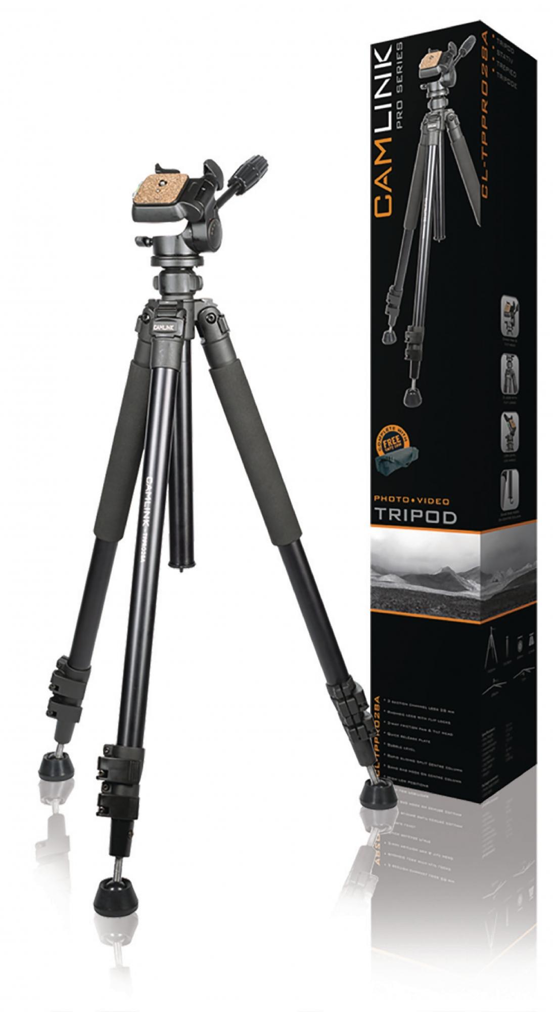 Billede af Professional kamera/video stativ vipbar, 165 cm. sort
