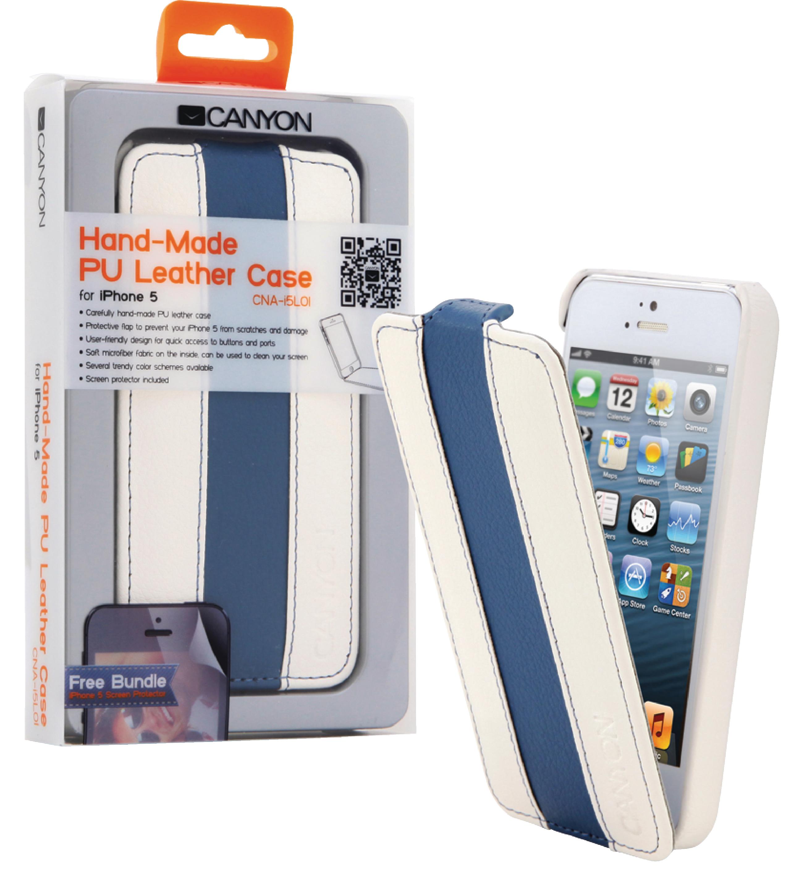 Image of   Tablet Flip-Etui Apple iPhone 5s Hvid/Blå