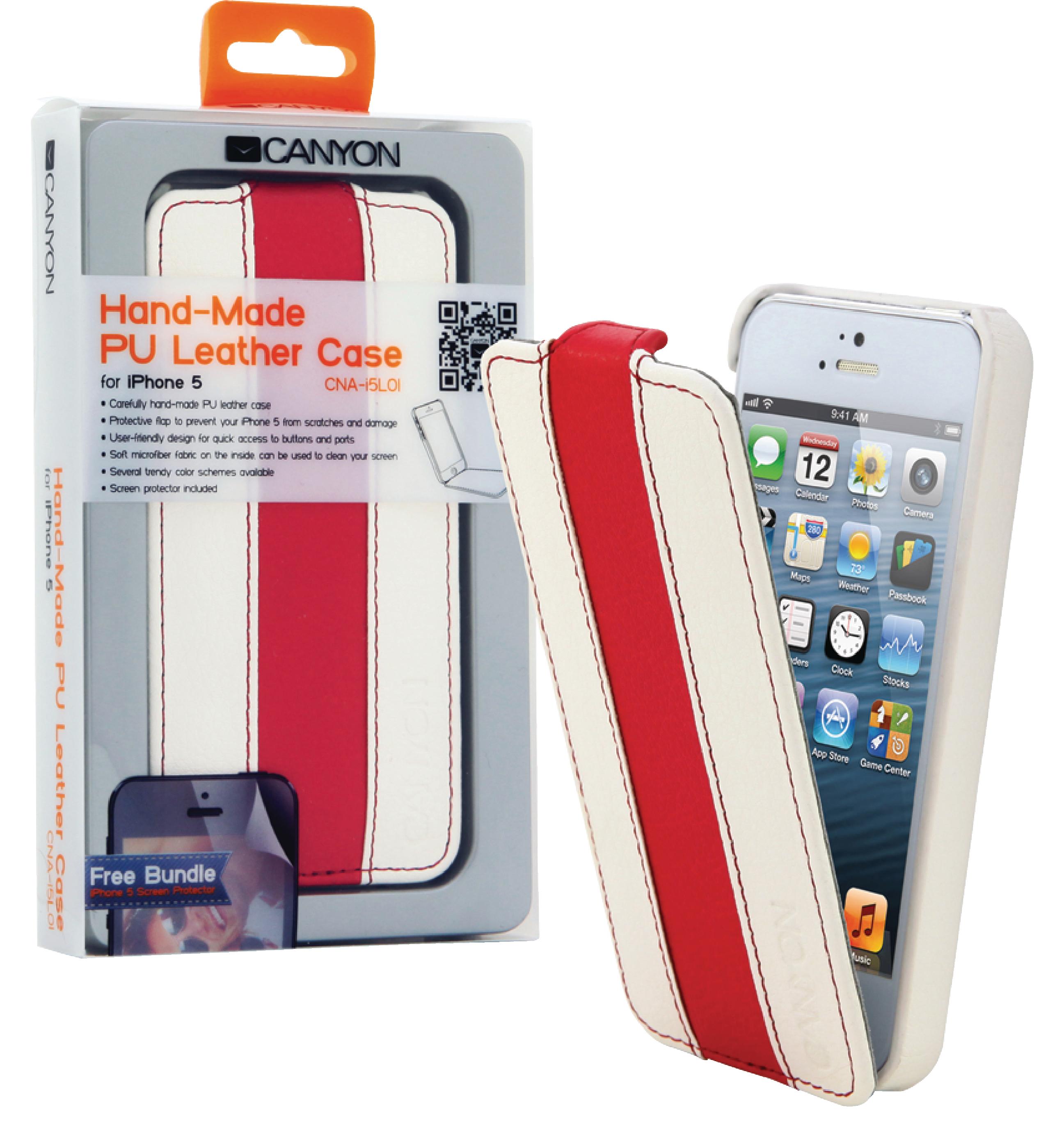 Image of   Tablet Flip-Etui Apple iPhone 5s Hvid/Rød