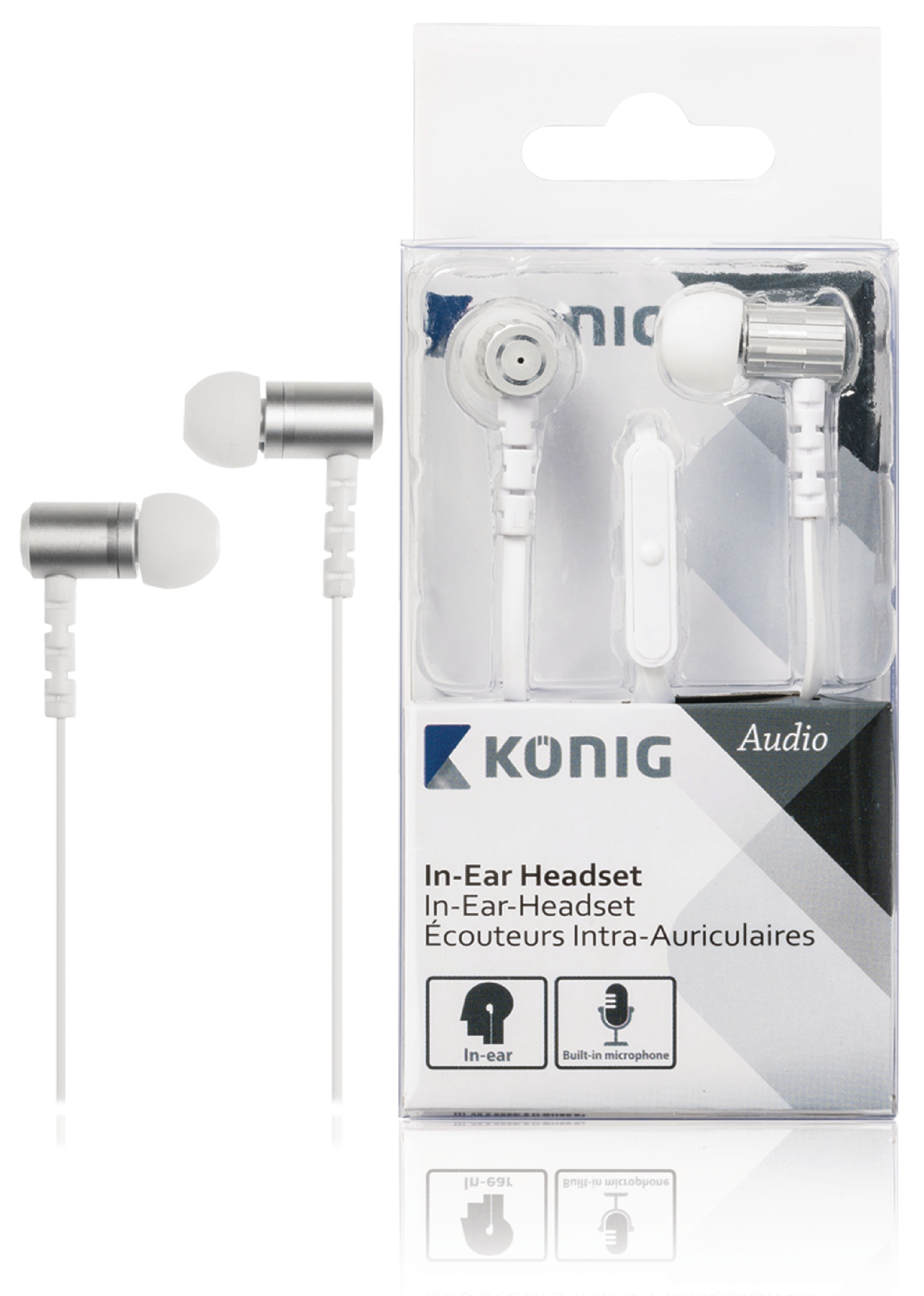 Image of   Headset Fladkabel In-ear 3.5 mm Indbygget Mikrofon 1.2 m Hvid