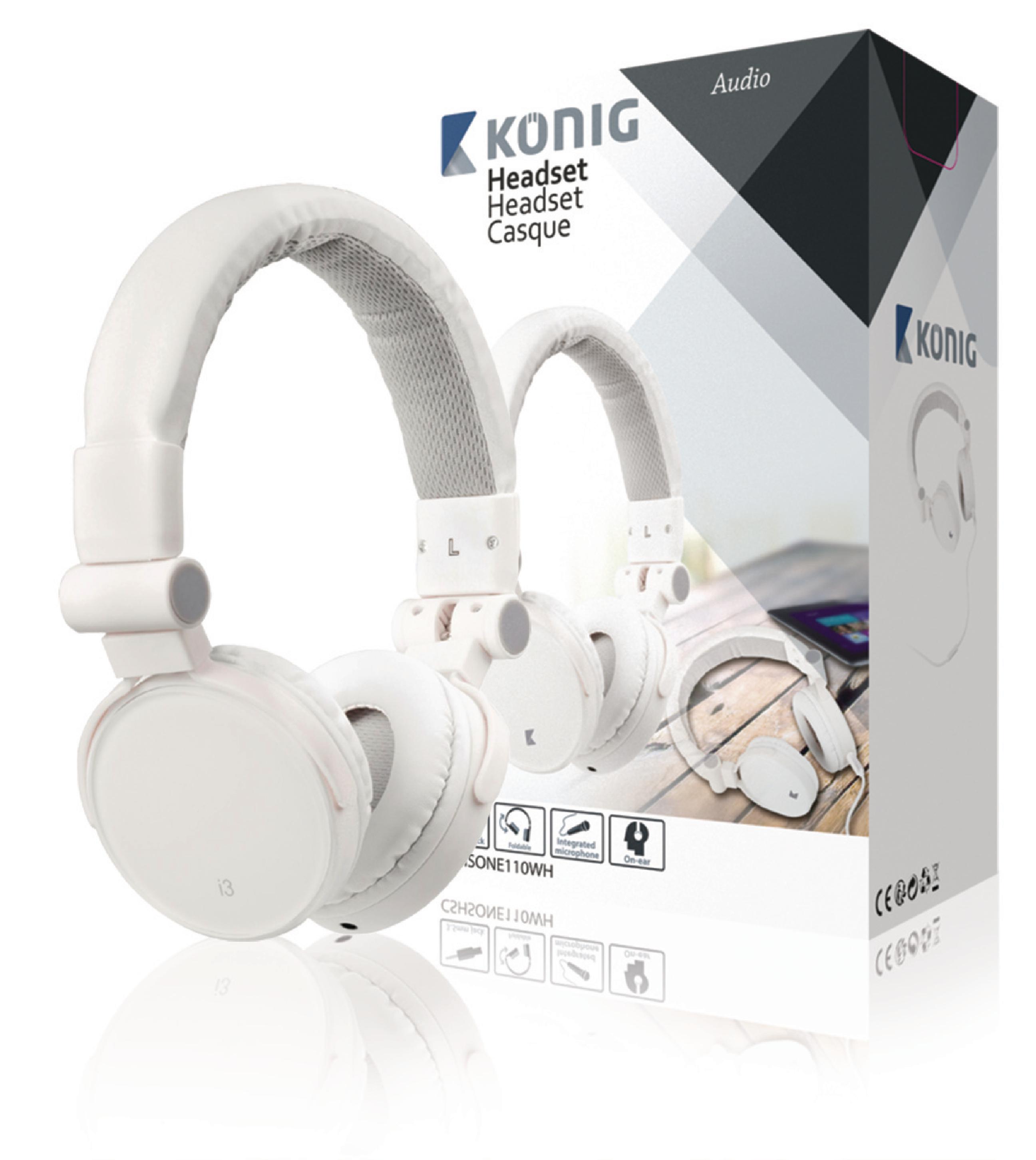Image of   Headset On-Ear 3.5 mm Indbygget Mikrofon Hvid
