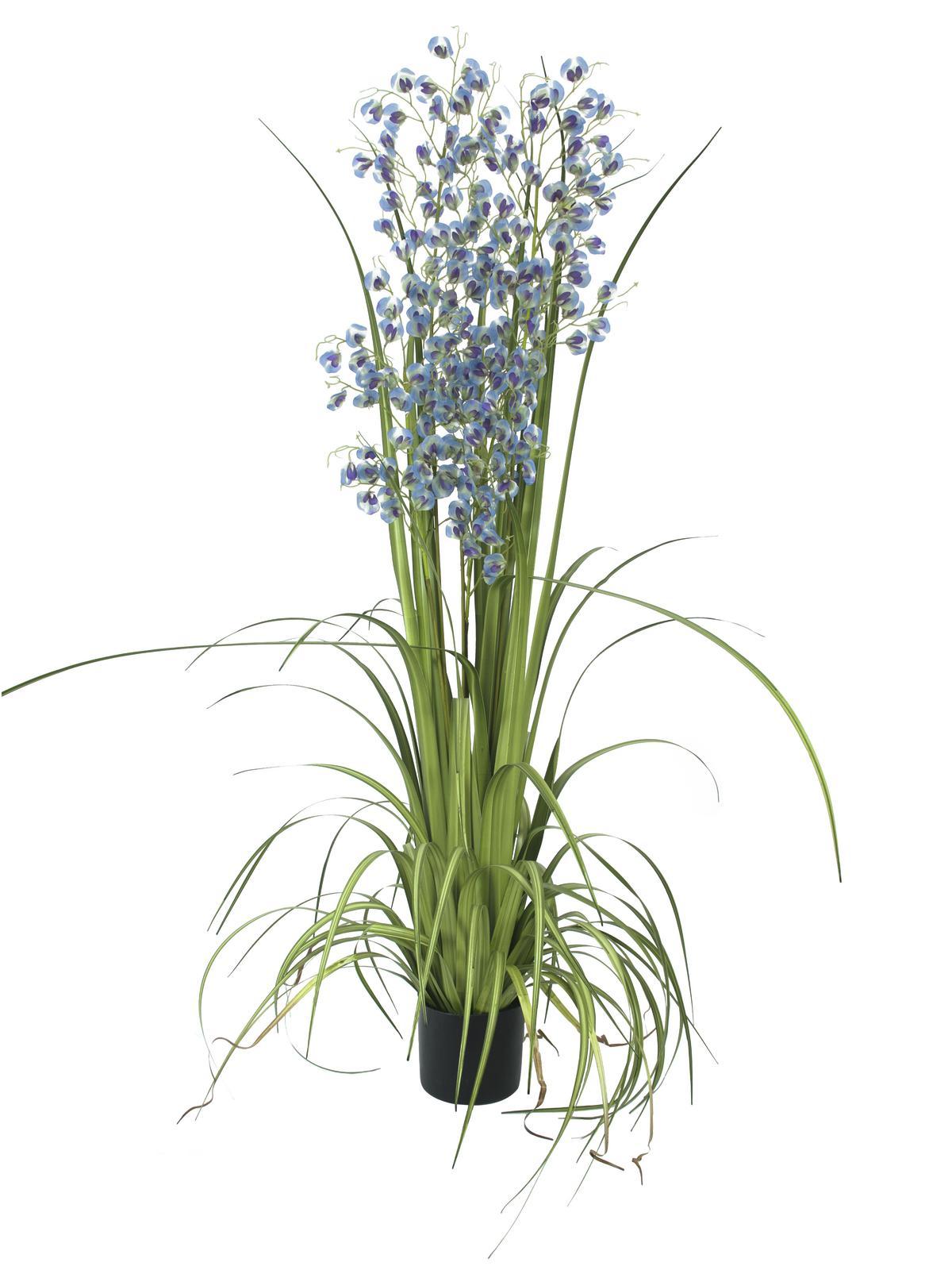 Billede af Kunstig blå/lilla græs Orkidé, 140 cm