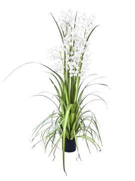 Billede af Kunstig Hvid Græs Orkidé