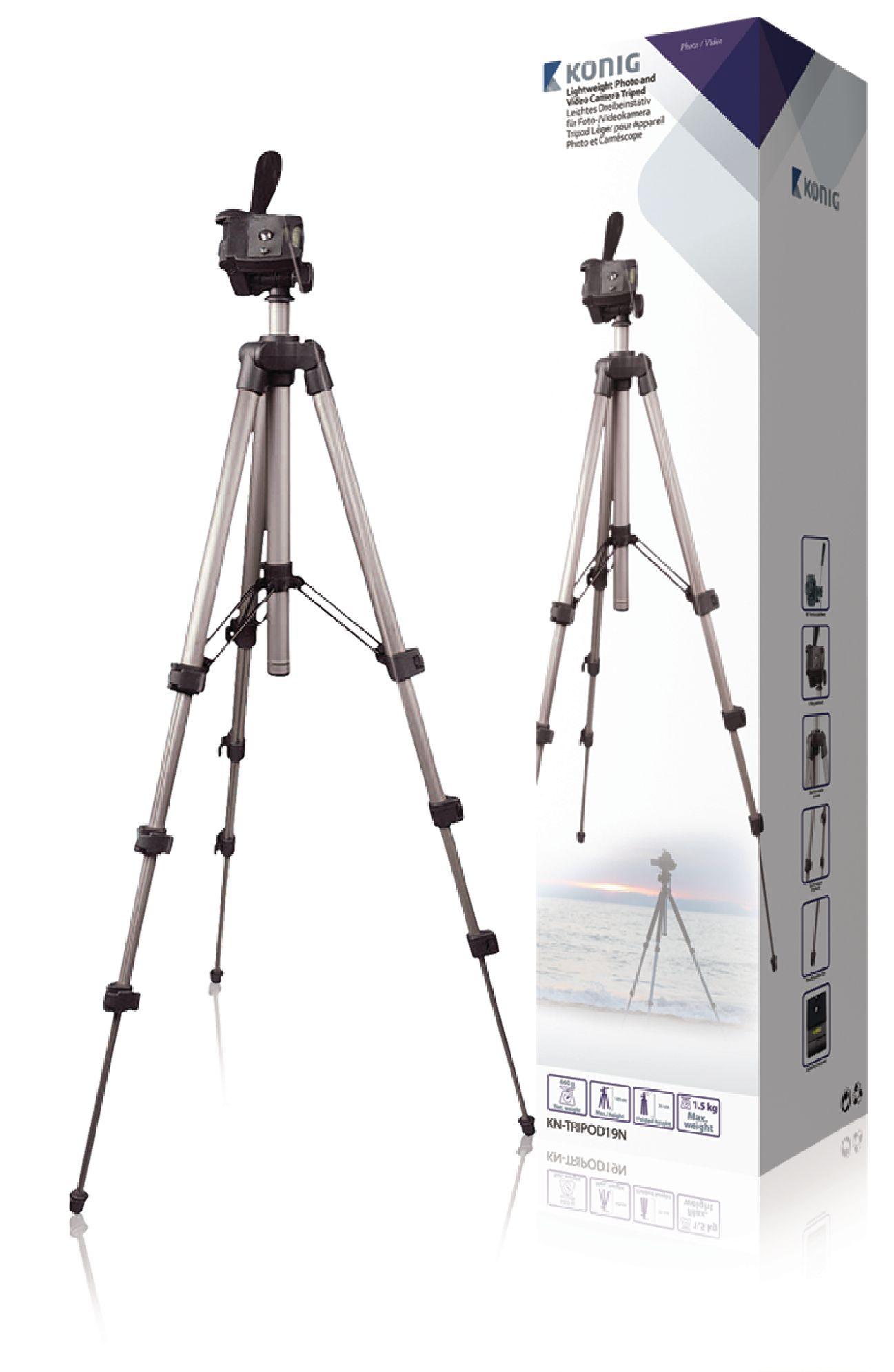 Billede af Kamera/video stativ vipbar, 105 cm. sort/sølv