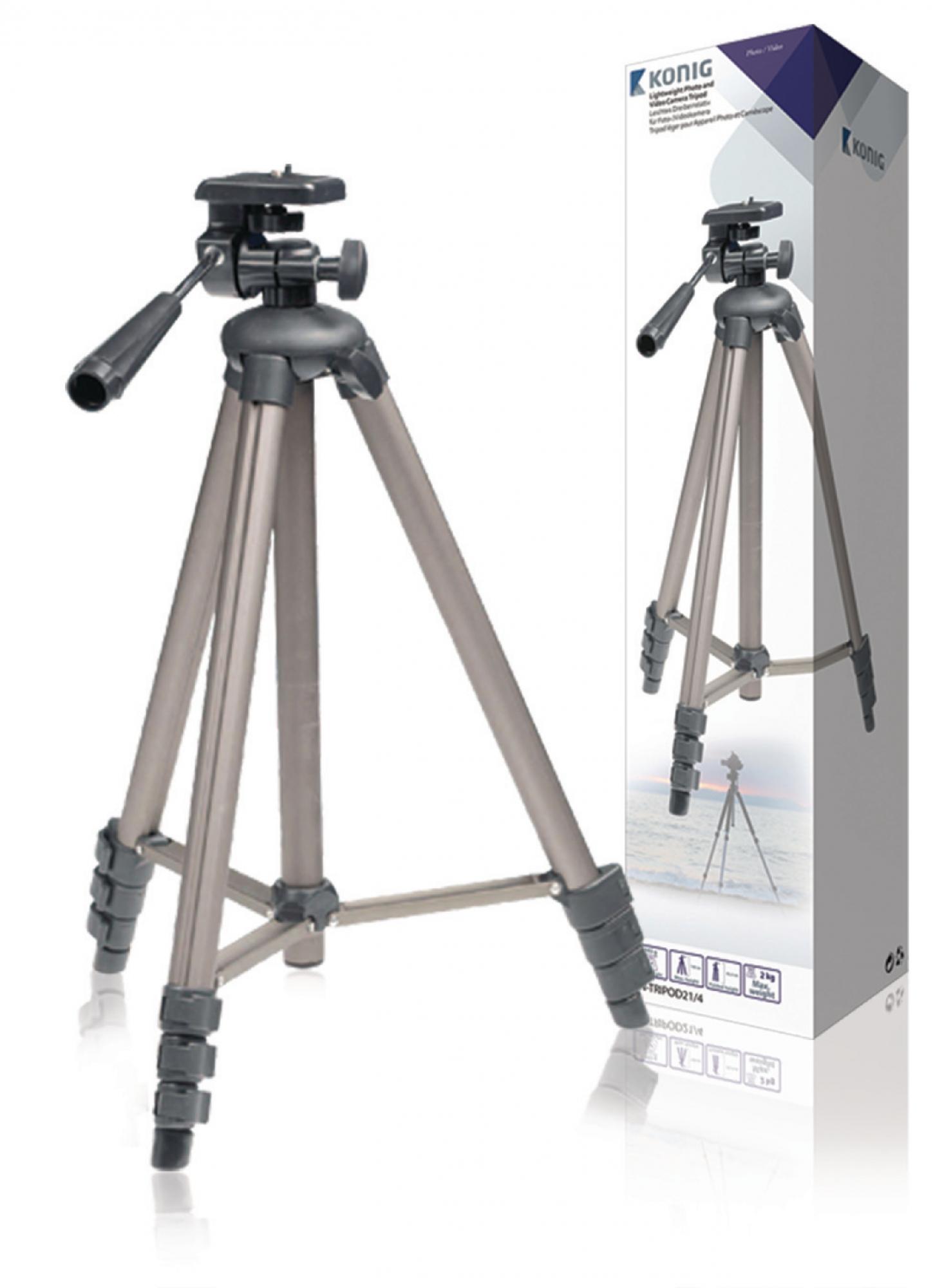 Billede af Kamera/video stativ vipbar, 130 cm., sort/sølv