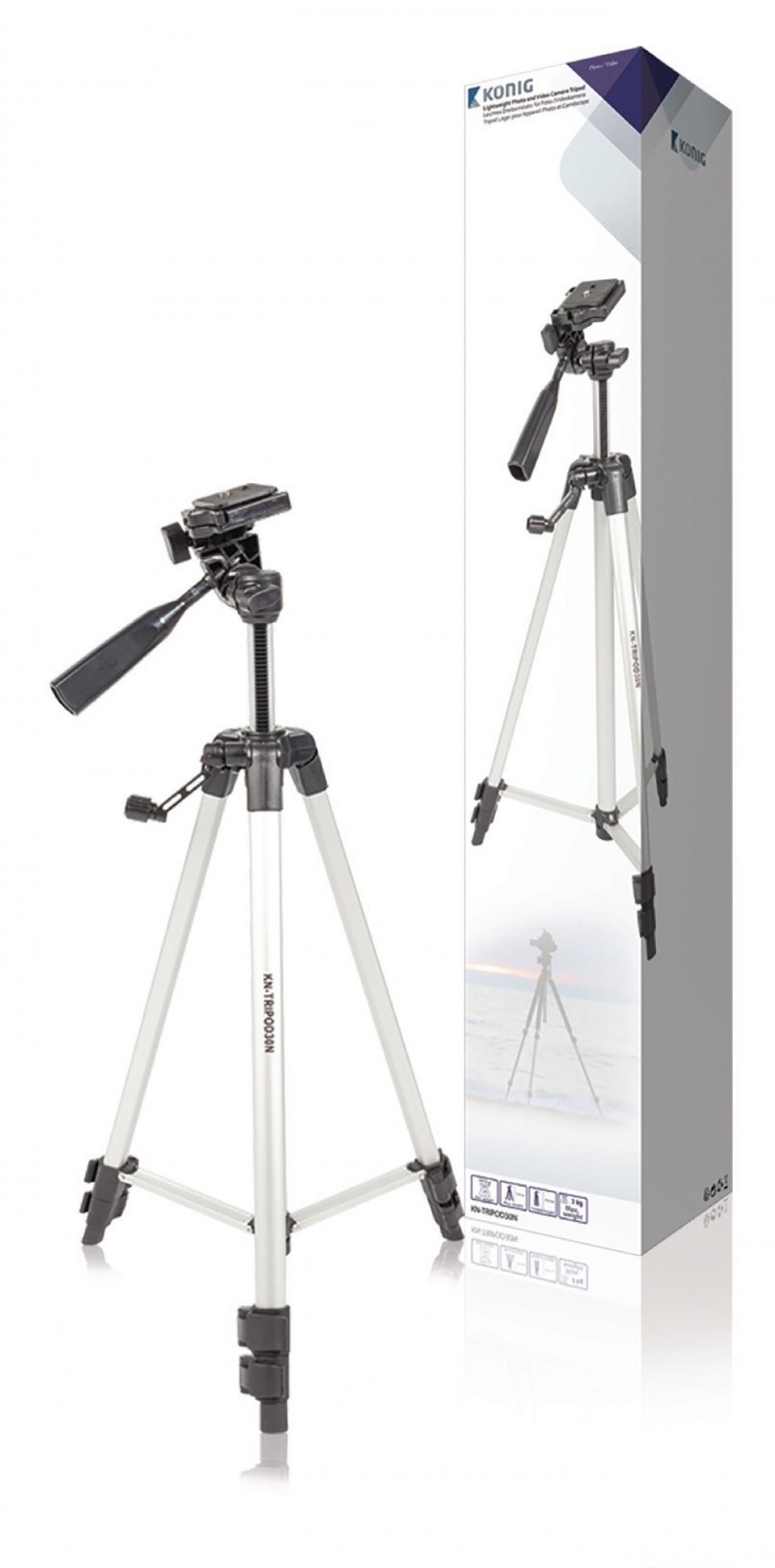 Billede af Kamera/video stativ vipbar, 134 cm. sort/sølv