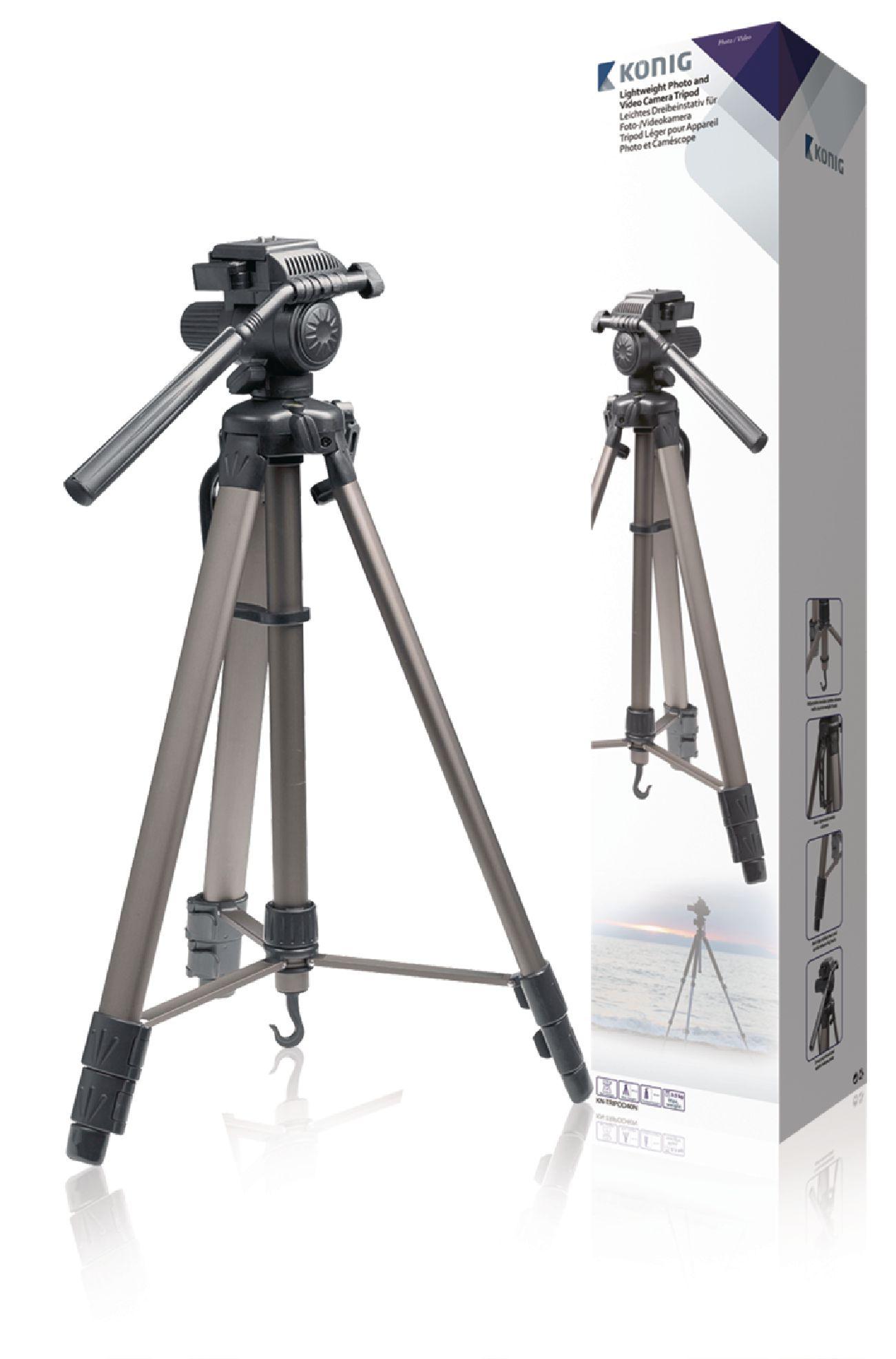 Billede af Kamera/video stativ vipbar, 161 cm. sort/sølv