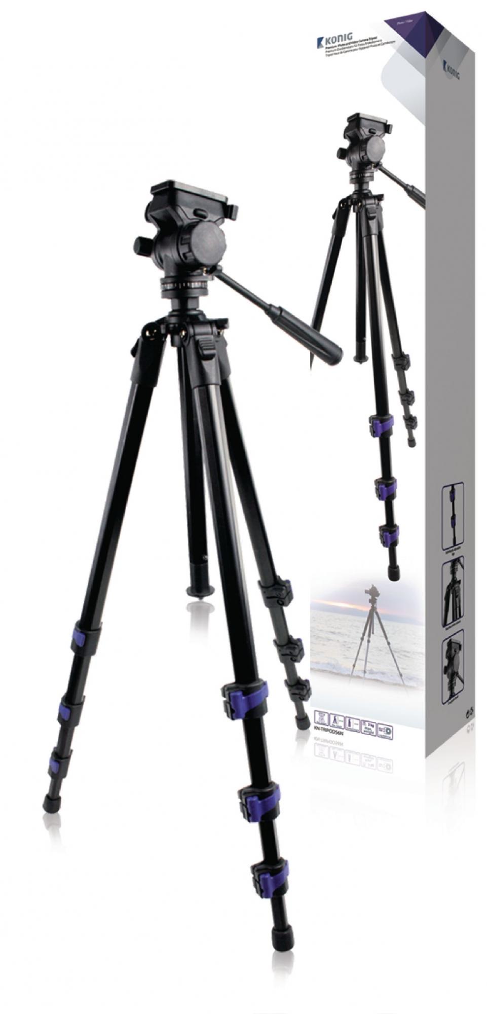Billede af Premium kamera/video stativ vipbar, 161 cm. sort