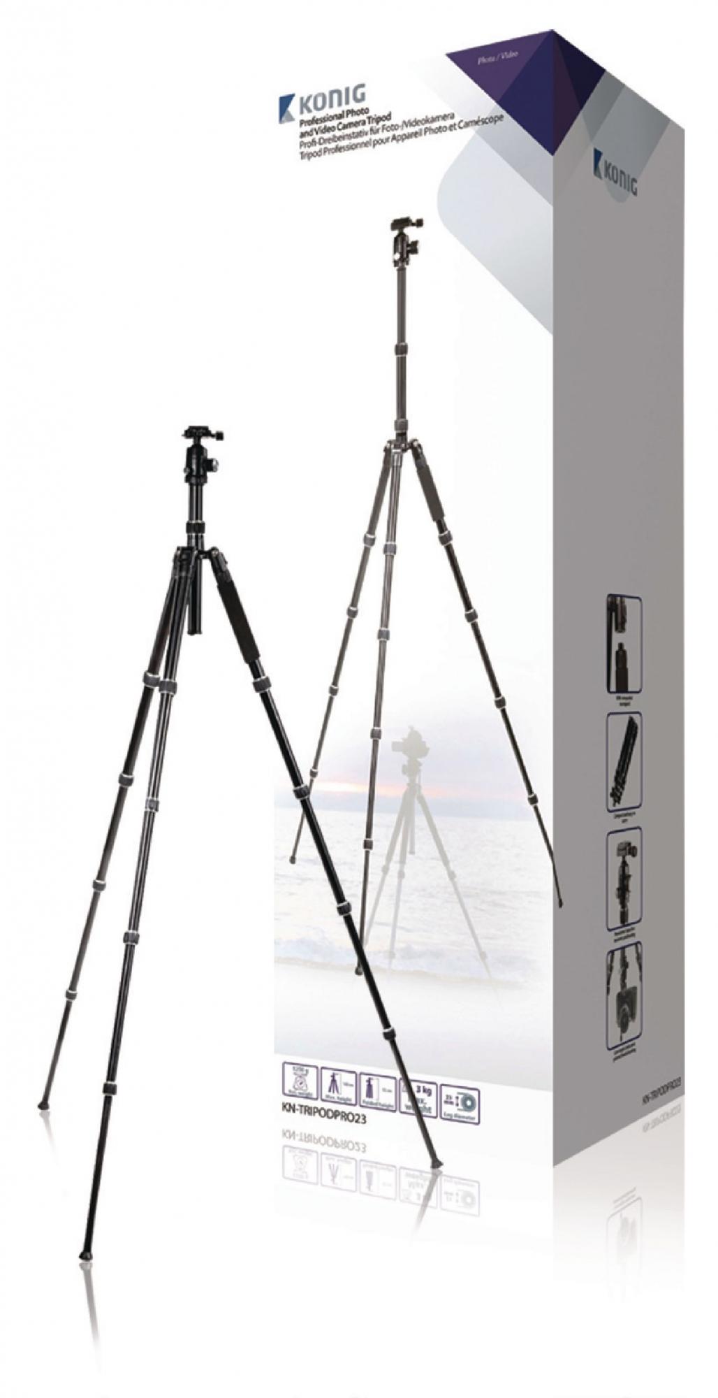 Billede af Professional kamera/video stativ hoved, 145 cm. sort
