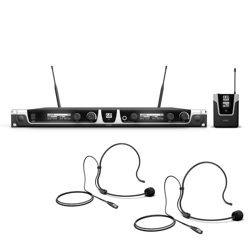 Billede af LD Systems U508 BPH2 - Trådløs mikrofon System med 2 x Bodypack og 2 x Headset