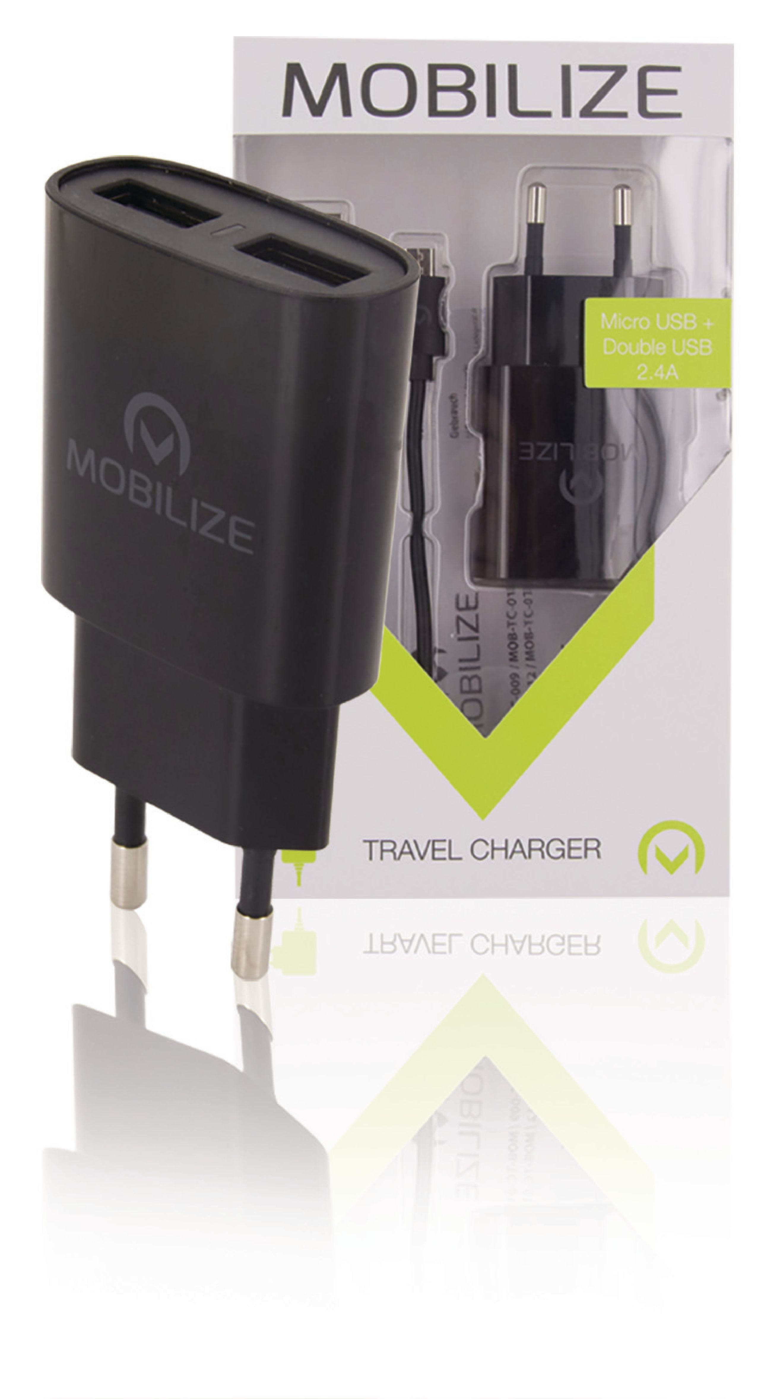 Billede af Universal Ac Power Adapter USB / Micro USB Sort