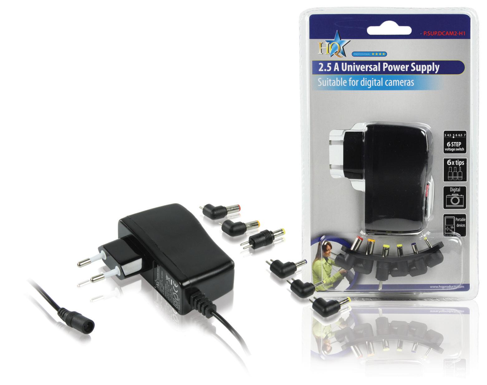 Billede af Universal Ac Power Adapter 3 / 4.5 / 5 / 6 / 6.5 / 7 VDC 1.9 A - 2.5 A Sort