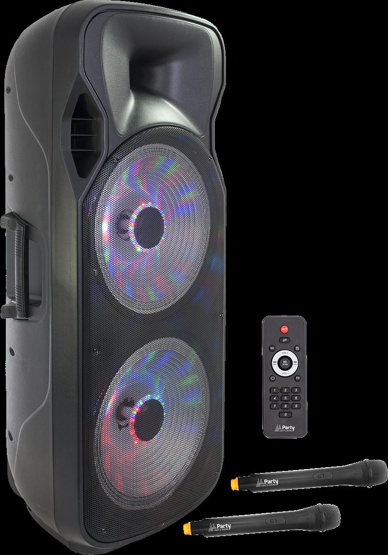 Image of   PORTABLE SOUND SYSTEM 2 x 15''/38cm - 1000W WITH USB, BLUETOOTH, FM & 2x UHF MICS