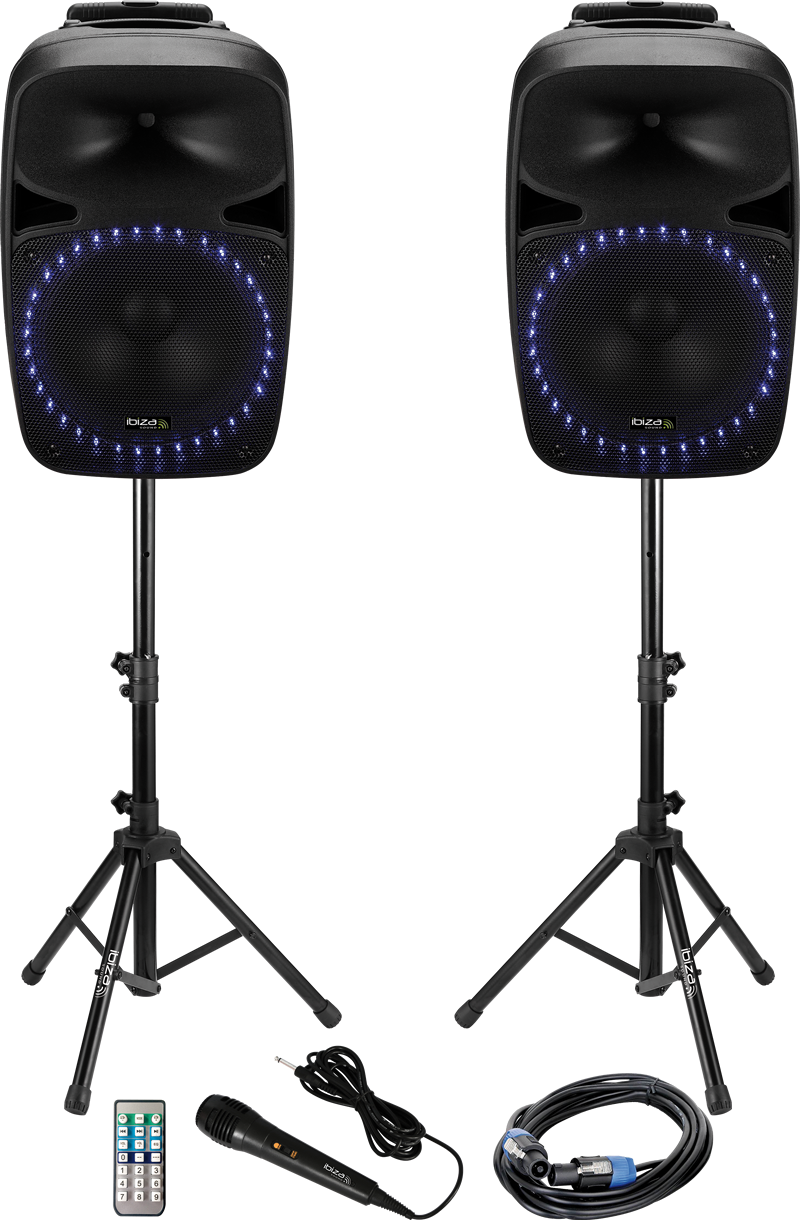 """Image of   SOUND SET WITH USB/SD PLAYER + BLUETOOTH 15""""/38cm – 2 x 500W max."""