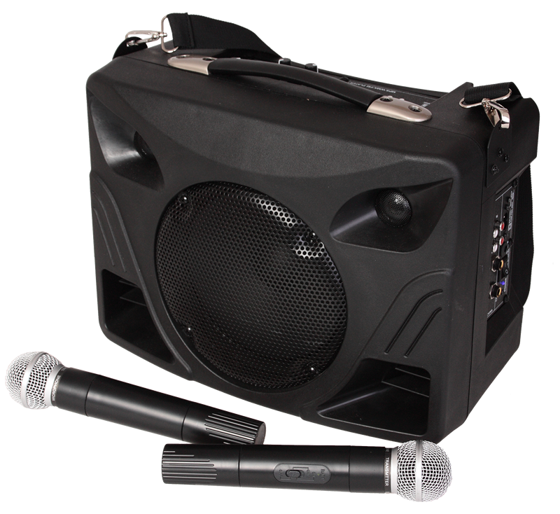 Image of   PORTABLE PA SYSTEM WITH BUILT-IN BATTERY, USB/MP3/SD PLAYER, 2x VHF MIC & BLUETOOTH