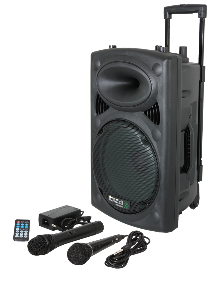 Image of   PORTABLE STAND-ALONE PA SYSTEM WITH USB, VOX, BLUETOOTH, WIRELESS UHF & WIRED MICS