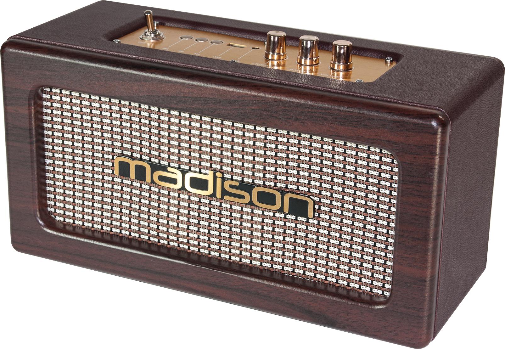 Billede af Madison genopladelig vintage 2 x 10W højttaler med USB og bluetooth
