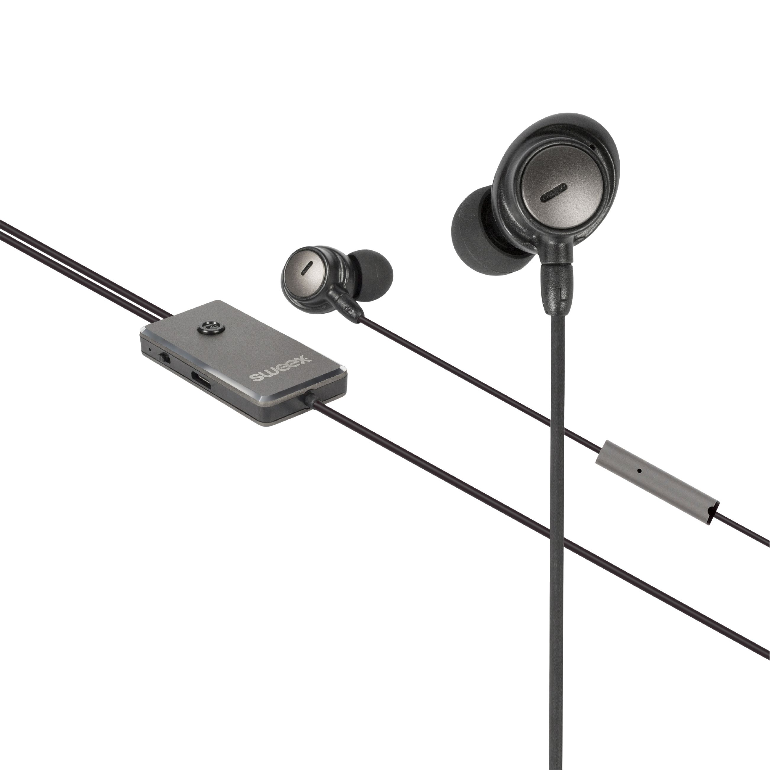 Image of   Headset ANC (Active Noise Cancelling) In-ear 3.5 mm Kabel Indbygget Mikrofon 1.2 m Antracit/Sort