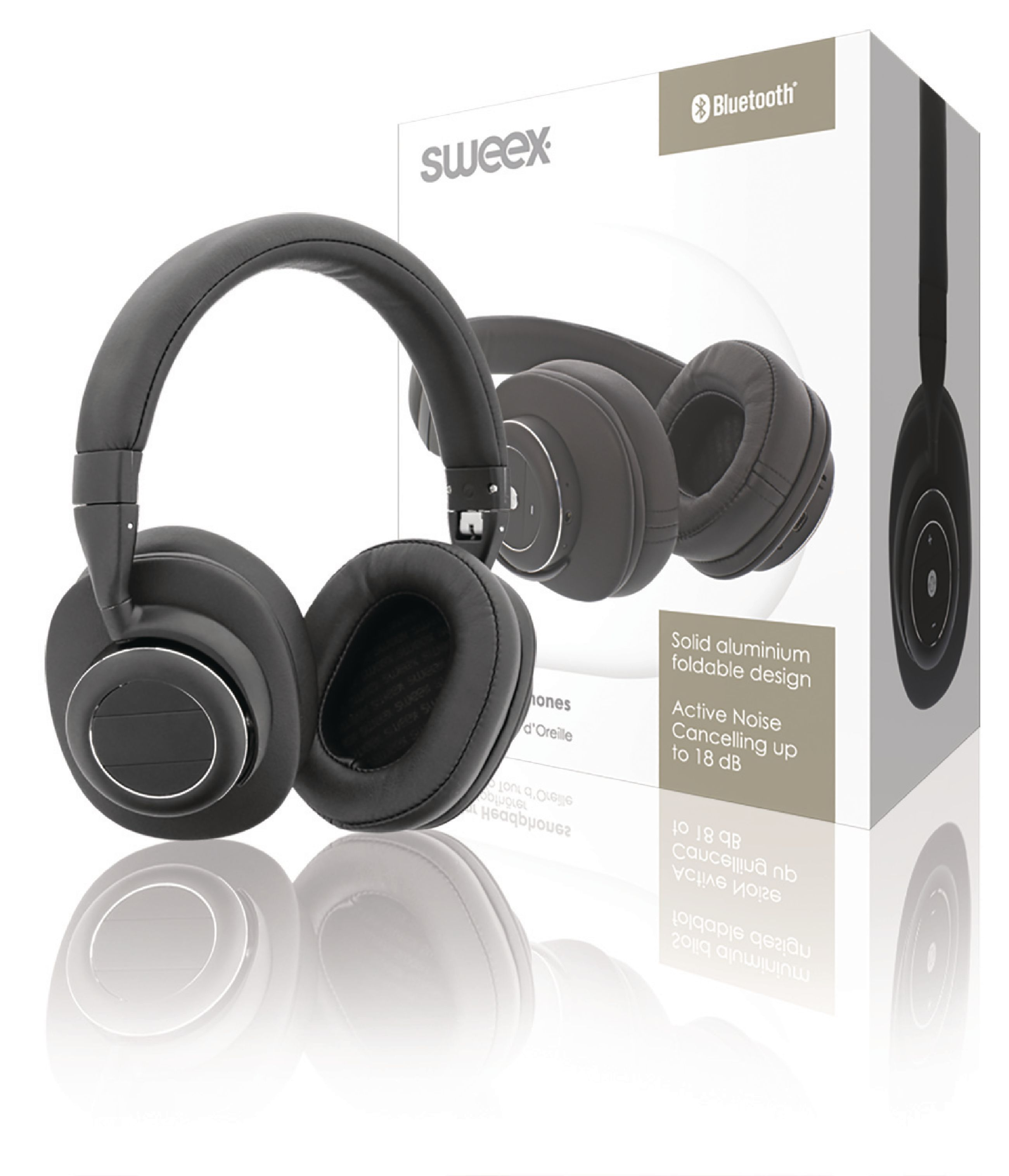 Image of   Headset Bluetooth / ANC (Active Noise Cancelling) Over-Ear Indbygget Mikrofon 1.20 m Sort/Sølv