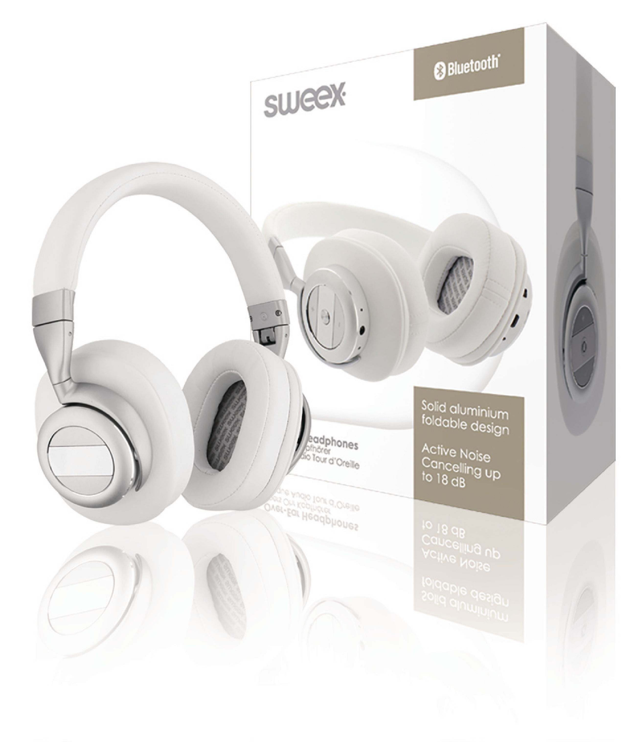 Image of   Headset Bluetooth / ANC (Active Noise Cancelling) Over-Ear Indbygget Mikrofon 1.20 m Hvid/Sølv