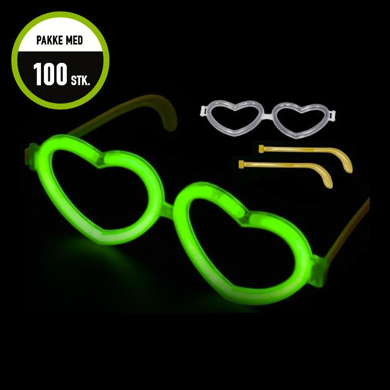 Billede af Knæklys briller, hjerteformede, blandede farver, 100 stk