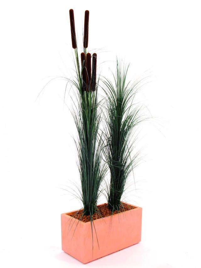 Billede af Kunstig Reed grass with cattail, dark-green,152cm