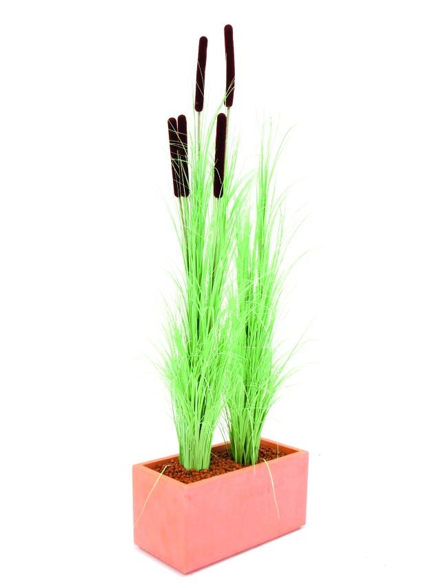 Billede af Kunstig Reed grass cattails, light-green, 152cm