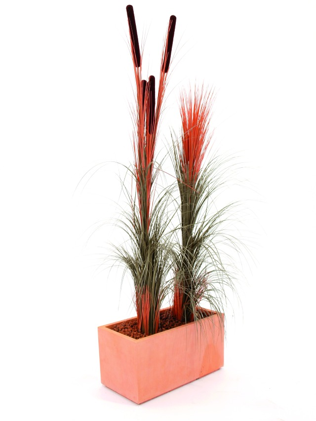 Billede af Kunstig Reed grass cattails, light-brown, 152cm