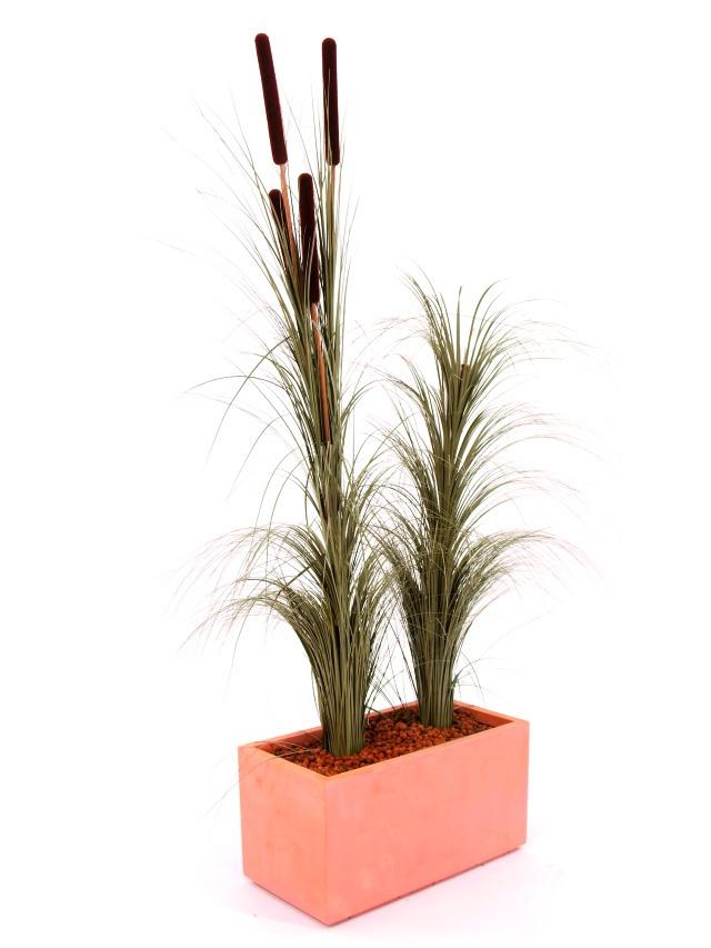 Billede af Kunstig Reed grass cattails, dark-brown, 152cm