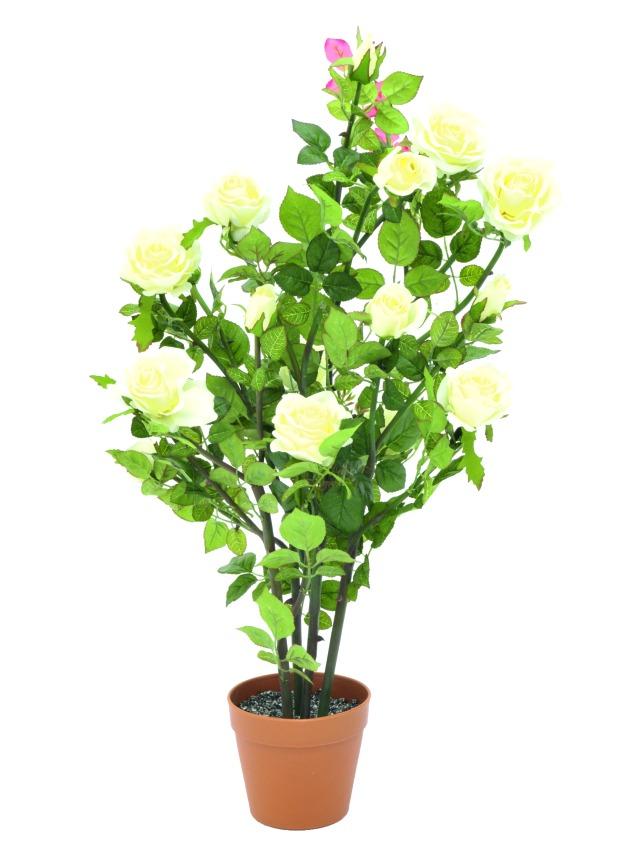 Billede af Kunstig Rosebush, cream, 86cm