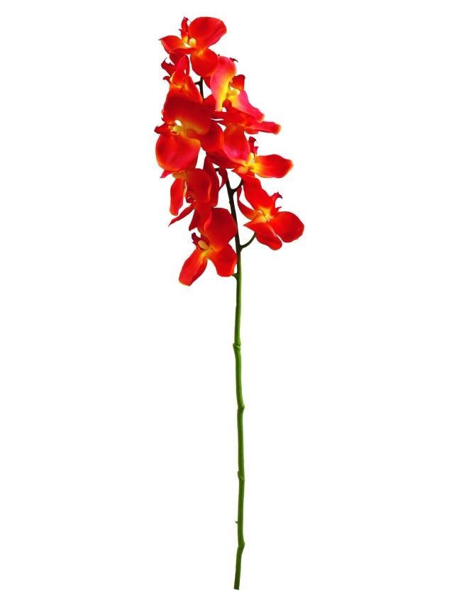 Billede af Kunstig Orchidspray, orange, 70cm