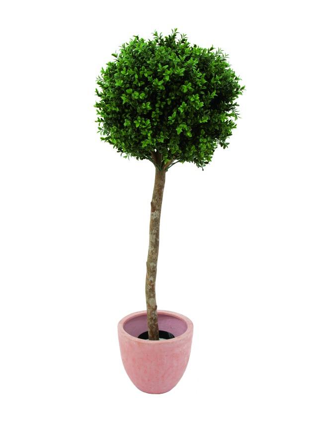 Billede af Kunstig Plastic boxwoodball tree, 110cm