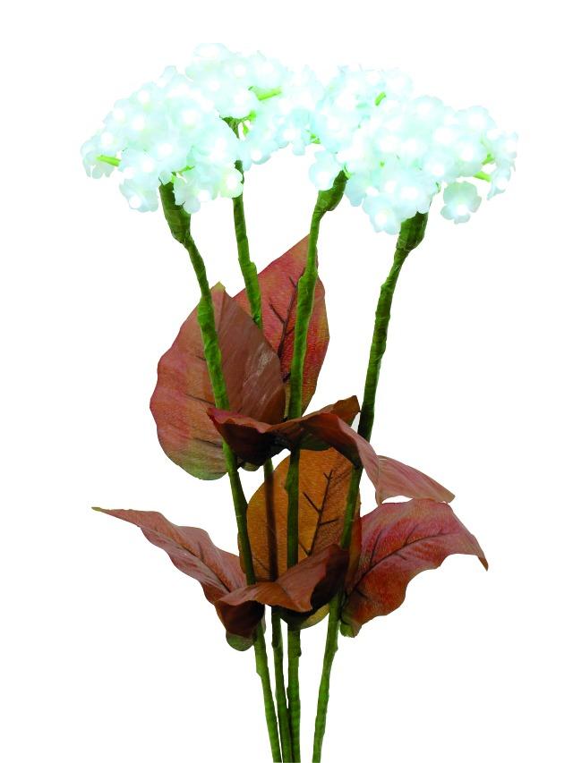 Billede af Kunstig Hydrangea, white, with flowers, 100LEDs