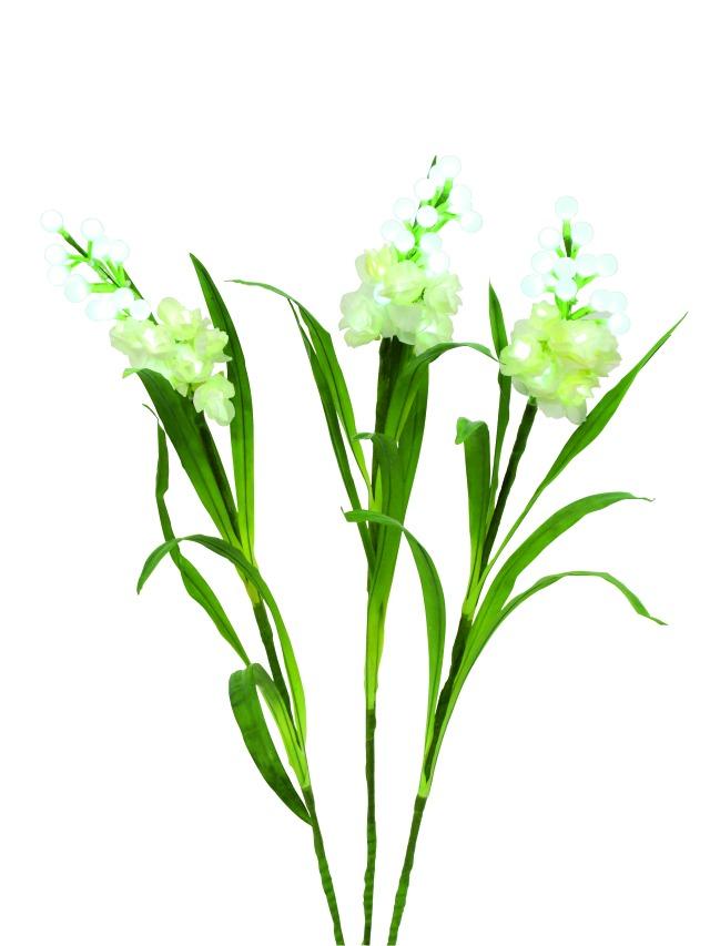 Billede af Kunstig Arum sæt, 3 grene m. LED, hvid, 85 cm
