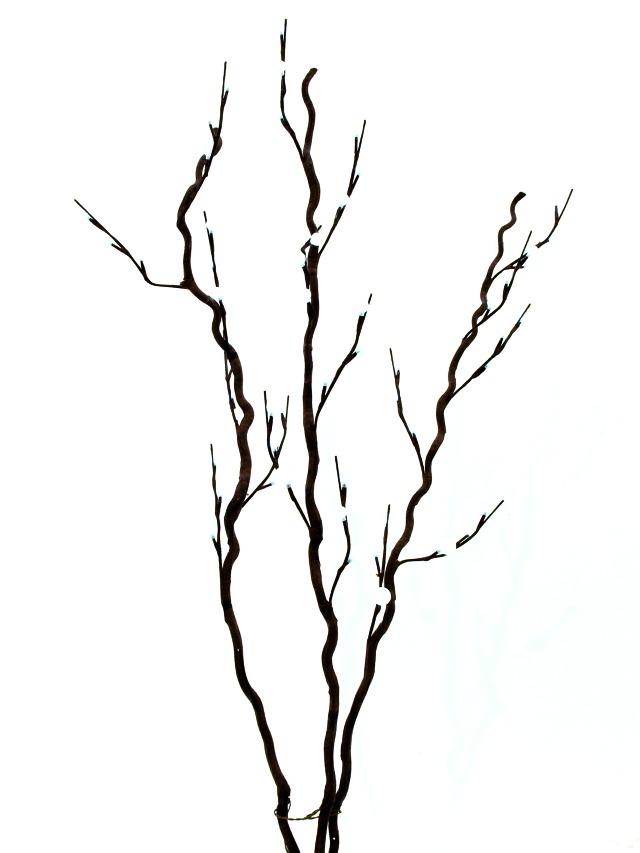 Billede af Kunstig Corkscrew branch, with LEDs, white, 120cm