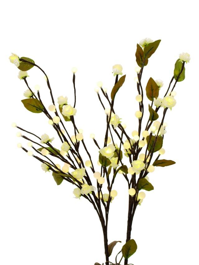 Billede af Kunstig Camellia bow, with LEDs, white, 50cm