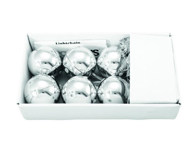 Billede af LED Christmas Ball 6cm, silver (6 pcs)