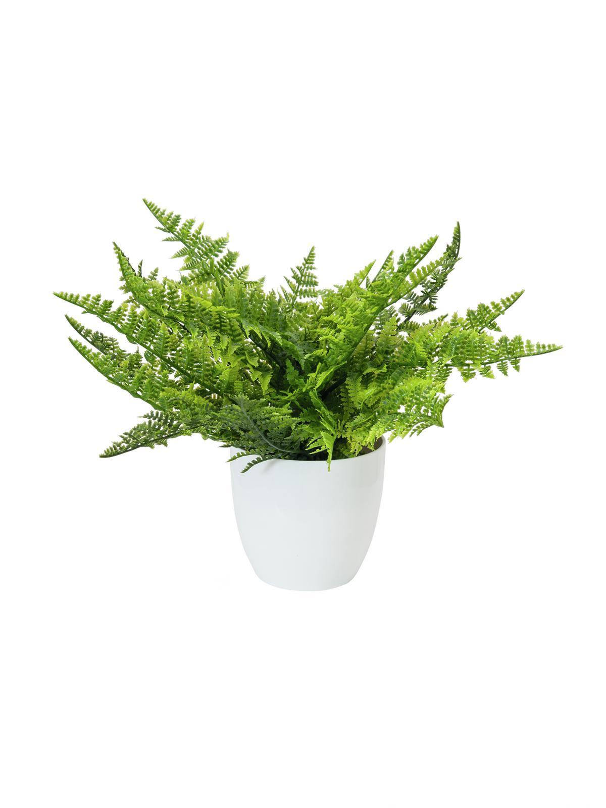 Billede af Kunstig Fern bush in pot, 22 leaves, 33cm